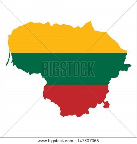 Lithuania High Resolution Map With National Flag. Flag Of The Country Overlaid On Detailed Outline M