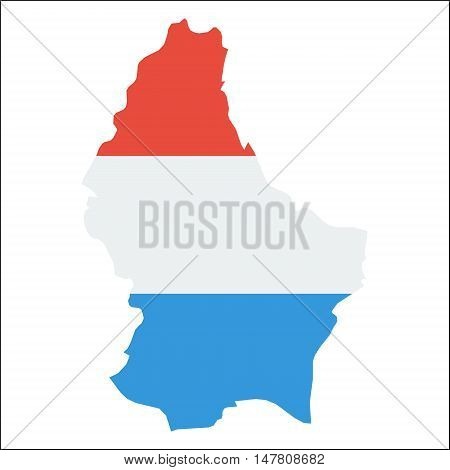 Luxembourg High Resolution Map With National Flag. Flag Of The Country Overlaid On Detailed Outline