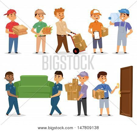 Handsome young delivery man portrait isolated on white. Delivery man reight logistic business industry icons. Man silhouettes package service worker delivery man characters postal transportation.