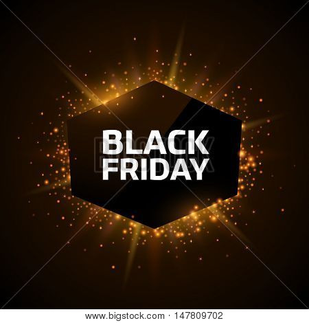 Black Friday advertisement template. Gold dust and beams on dark background. Geometric shape banner with text.