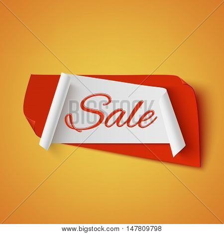 Sale, red and white abstract banner on on orange background. Vector illustration.
