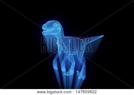 Dinosaur Raptor in Hologram Wireframe Style. Nice 3D Rendering poster