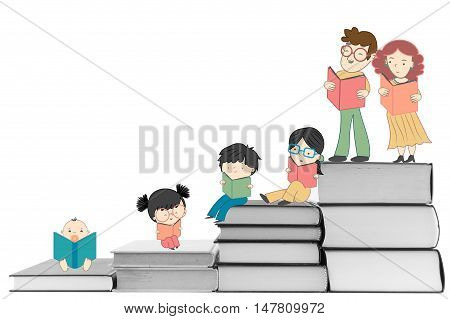 Boys and girls reading book for children education and young culture growth illustration
