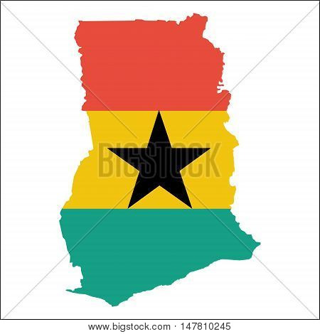 Ghana High Resolution Map With National Flag. Flag Of The Country Overlaid On Detailed Outline Map I