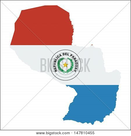 Paraguay High Resolution Map With National Flag. Flag Of The Country Overlaid On Detailed Outline Ma