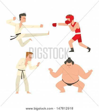 Fighters people muay thai boxing karate taekwondo wrestling kick punch grab throw people icon. Athlete training martial boxing fighters people symbol characters. Fighters people strong gym kick body.