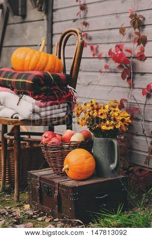 fall at country house. Seasonal decorations with pumpkins fresh apples and flowers. Autumn harvest at farm.