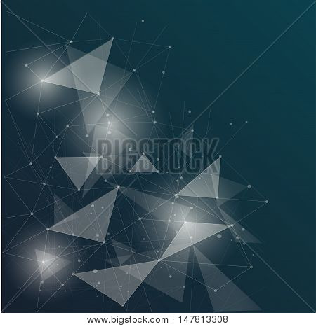 Abstract polygonal space low poly deep blue background with connecting dots and lines. Connection structure. Vector science background. Polygonal vector background. Futuristic HUD background.Techno.