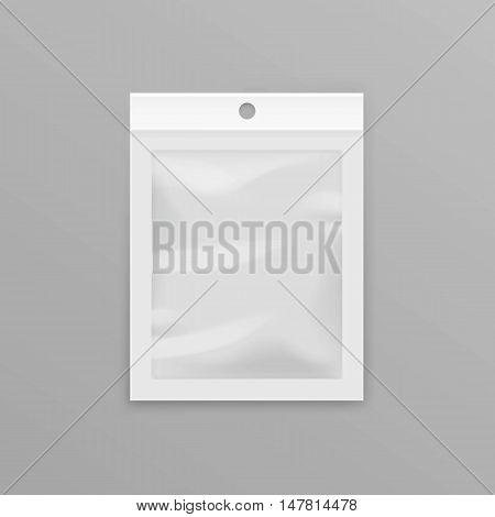 Vector White Sealed Empty Transparent Plastic Pocket Bag with Hang Slot Close up Isolated on Background