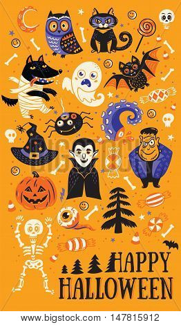 Happy Halloween. Vector set of characters and icons for Halloween in cartoon style. Pumpkin, ghost, bat, candy and owl, cat, wolf, Dracula, spider, skeleton. Illustration on yellow background