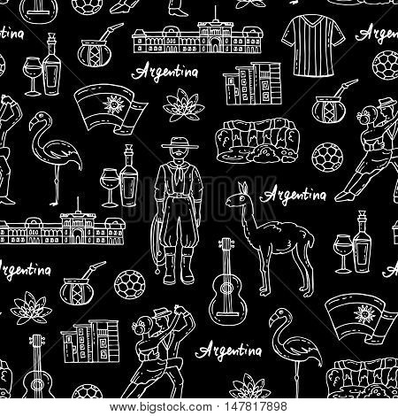 Vector seamless pattern with hand drawn isolated symbols of Argentina on black color. Pattern on the theme of travel and tourism. Background for use in design, packing, web site, fabric