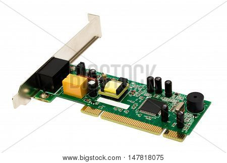 Internal modem card isolated on white background
