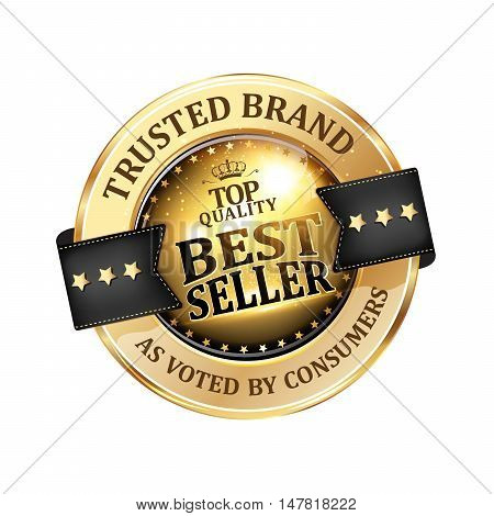 Best seller, Trusted Brand,  as voted by consumers - luxurious elegant icon / ribbon for retailers