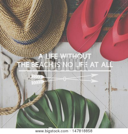 Summer Break Lifestyle Flipflop Vacation Words Concept
