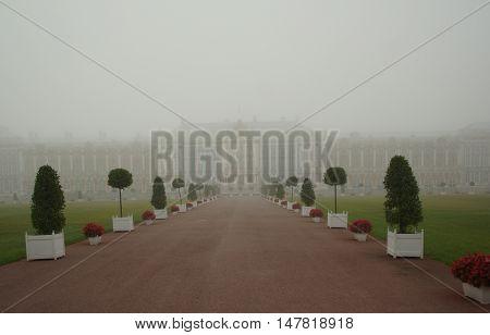 Catherine Palace and misty autumn morning in Tsarskoye Selo