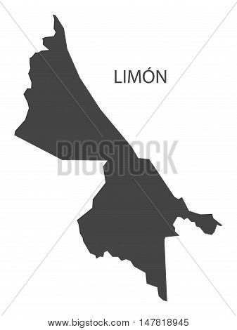 Limon Costa Rica Map grey vector isolated high res