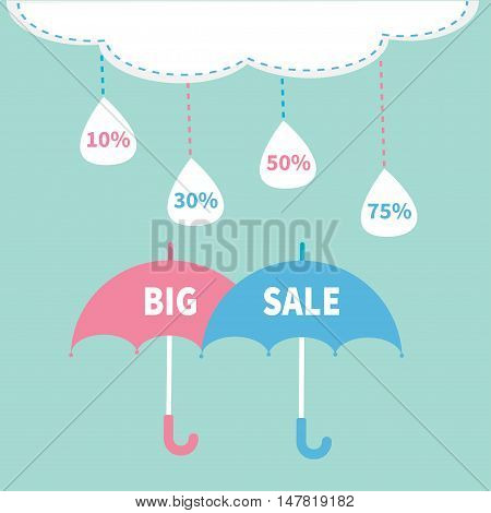Monsoon season offer. Two umbrella set. Cloud with hanging dash line raining drops. 10 30 50 75 persent off. Big sale banner poster. Flat design. Blue sky background. Vector illustration
