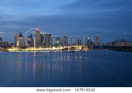 SINGAPORE- SEP 17 2016 : Modern buildings of Singapore skyline landscape in business district