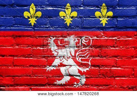 Flag Of Lyonnais, France, Painted On Brick Wall