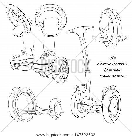 Vector illustration of Set Cartoon portable transportable. Urban modern transports. One-wheel, two-wheel, electric scooter, balance bike. Isolated linear objects on white background.