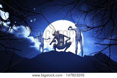 3D render of Halloween demons in a spooky moonlit landscape