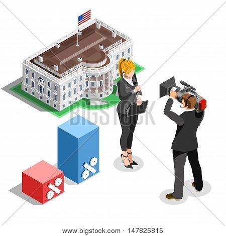 Election infographic.Debate party convention hall.Conference business meeting lecture.Congress theatre auditorium audience.Politic delegate competitors affiliates crowd rally.Vector isometric people