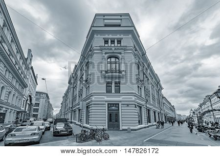 Moscow Russian Federation September 15 2016: Prestige apartment house on Nikoljskaja street in the historical city center.