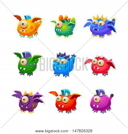 Little Alien Dragon Like Monsters Set Of Bright Color Vector Icons Isolated On White Background. Cute Childish Fantastic Animal Characters Design.