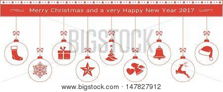 Set of Christmas balls with ornaments like Christmas tree, Santa hat, reindeer, angel, stocking, snowflake, Christmas star and bell hanging with a ribbon from a Merry Christmas and Happy New Year text