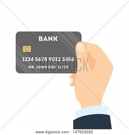 Isolated hand with credit card. Concept of credit card payment, transaction and purchase. Plastic card with chip and identification number.