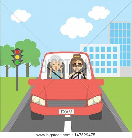 Scared into grey hair male passenger and female driver. Teacher and student. Girl passing driving test. Risky funny situation.