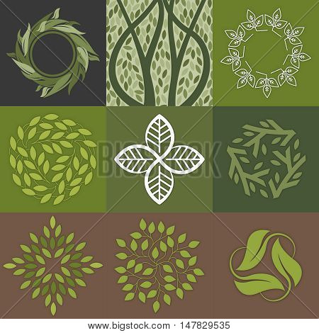 Set of green leaves logos design. Perfekt for cosmetic produkt, medicine centers, yoga classes and organic food.
