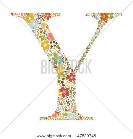 Y letter with decorative floral ornament