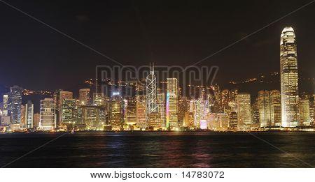 Hong Kong cityscape at night. No brand names or copyright objects.