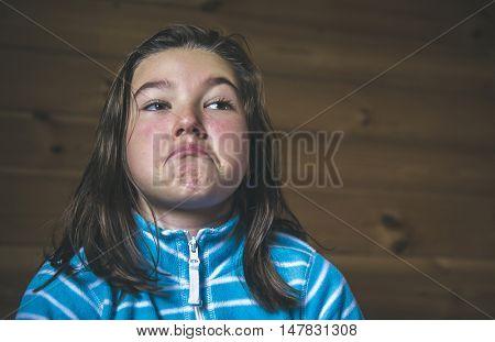 Young skeptic. Portrait of a teenage girl incredulous.