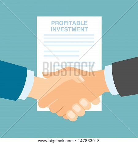 Profitable investments handshake. Making progress in business and finance.