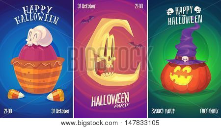 Halloween illustration witch skull moon. Vector set of happy halloween vintage badges, logos emblems and labels. Vector stock illustration.