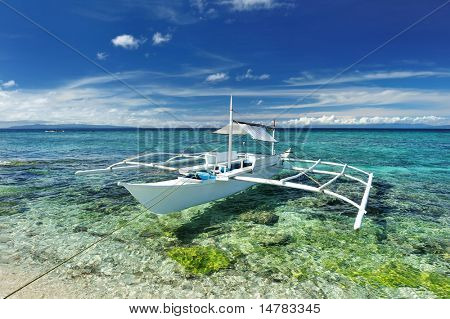 Beautiful beach with boat at Balicasag island, Philippines