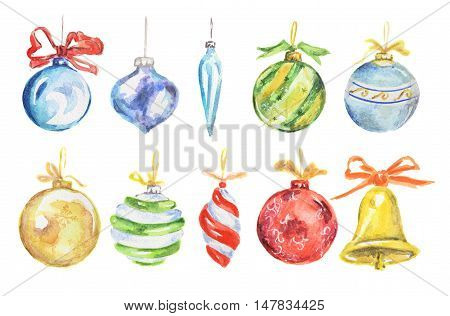 Watercolor christmas toys set. Bright and colorful toys for christmas tree. Candies, bells, stars and gingerbreads.