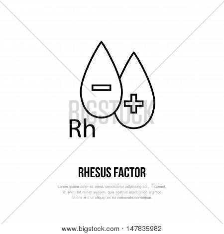 Modern vector line icon of rhesus factor. Blood test linear logo. Outline symbol for laboratory. Medical design element for sites hospitals. Hematology business logotype Rh-factor sign.