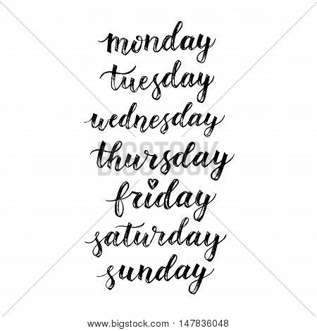 Days of week hand drawn vector lettering. Modern calligraphy. Design element for cards diary schedule. Monday tuesday wednesday thursday friday sunday sunday isolated on white background.