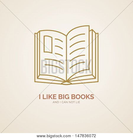 I like big books poster. Modern vector line icon of reading. Library linear logo. Outline symbol for encyclopedia vocabulary. Design element for site bookstore club. Education logotype open book.