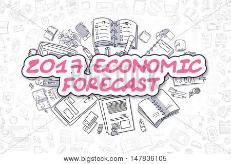 2017 Economic Forecast - Sketch Business Illustration. Magenta Hand Drawn Text 2017 Economic Forecast Surrounded by Stationery. Doodle Design Elements.