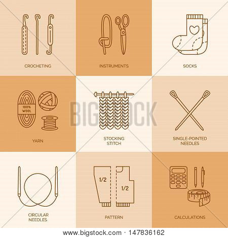 Modern vector line icons set of knitting and crochet. Linear design elements: socks knitting needle knitting hook pattern and others. Outline knitting symbol collection for business cards stores.