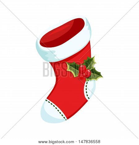 Christmas stocking. Christmas holiday object. Christmas stocking vector illustration. Stocking with holly