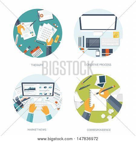 Vector illustration. Flat header. Online news. Newsletter, information. Business, market information. Financial report.