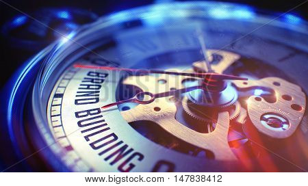 Brand Building. on Pocket Watch Face with CloseUp View of Watch Mechanism. Time Concept. Film Effect. Vintage Watch Face with Brand Building Text on it. Business Concept with Light Leaks Effect. 3D.
