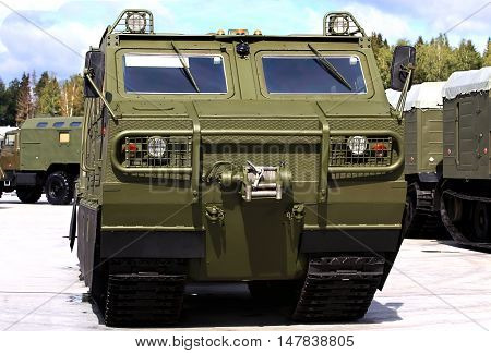 Military tracked transporter with a metal frame and box body vehicle with all-metal high-strength body