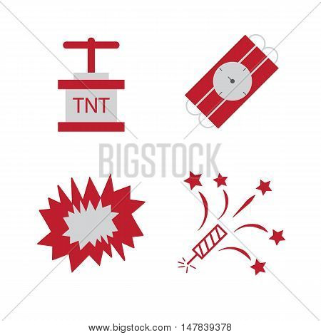 Bomb flat icons. Bombs explosion, tnt detonation pictograms