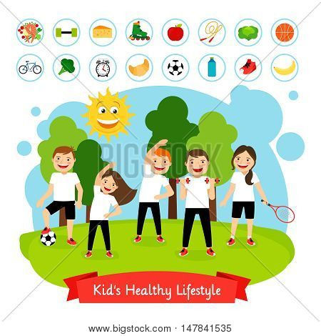 Sport children summer activity. Happy smiling kids active healthy lifestyle and healthy food vector illustration